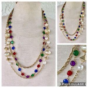Vintage jeweled multi strand necklace